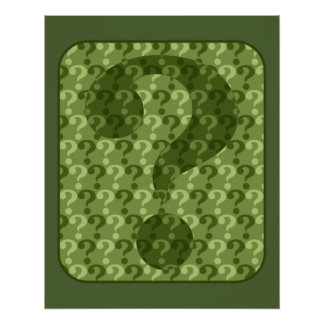 Question Mark Design in Green Poster