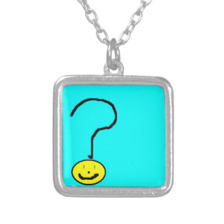 question mark emoji, digital art by kids :) silver plated necklace