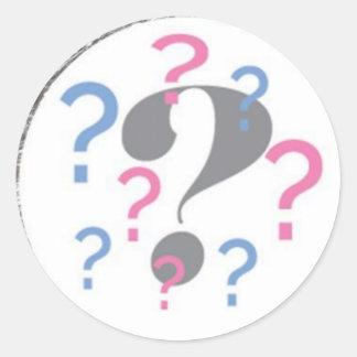 Question mark Gender Reveal Sticker Round