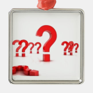 Question mark help square metal christmas ornament