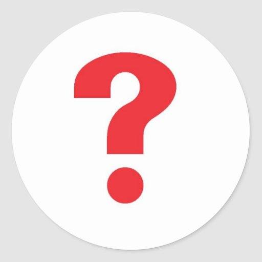 question mark red classic round sticker