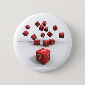 question mark red dice pinback button