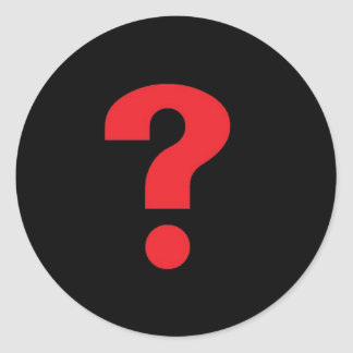 question mark red on black classic round sticker
