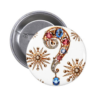 Question Mark Rhinestone Vintage Costume Jewelry Pinback Button