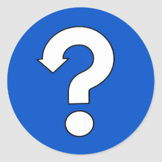 question mark sign classic round sticker