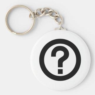 Question Mark Sign Basic Round Button Keychain