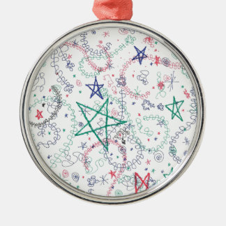 Question Mark Stars Round Metal Christmas Ornament