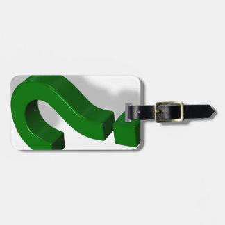 question mark symbol bag tag