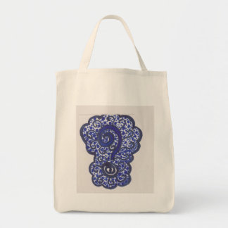 question mark tote grocery tote bag