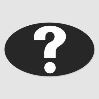 question mark white on black oval sticker
