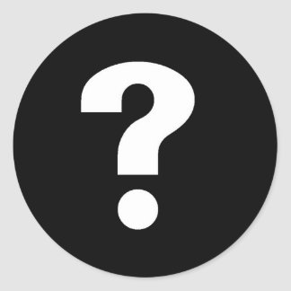 Question Mark white on black Classic Round Sticker