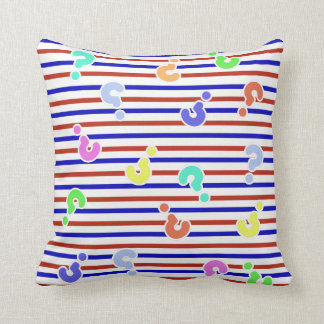 Question Marks Funky Stripes Throw Pillow