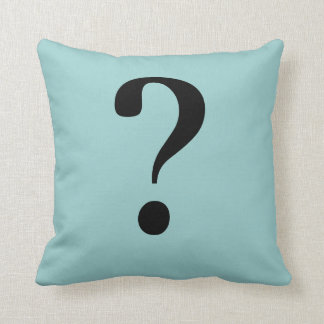 Question Type Pillow in Dusty Blue