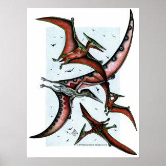 Quetz among Pterosaurs Print