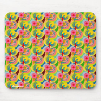 Quetzal Bird And Hibiscus Repeat Pattern Mouse Pad