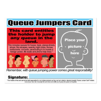 Queue Jumpers Cards Large Business Cards (Pack Of 100)