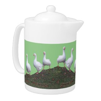 Queue Uped Cute Geese Teapot