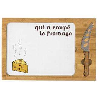 qui a coupé  le fromage rectangular cheeseboard