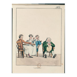 Qui dort dine', caricature of a man sleeping postcard