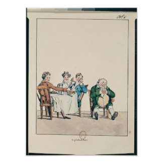 Qui dort dine', caricature of a man sleeping poster