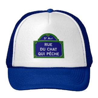 Qui Peche, placa de calle de Rue du Chat de París Gorras De Camionero