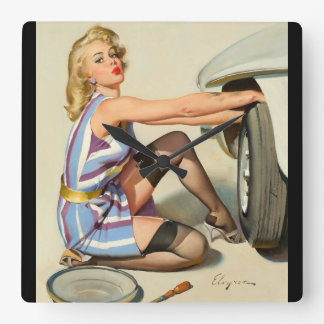Quick Change Pin Up Art Square Wall Clock