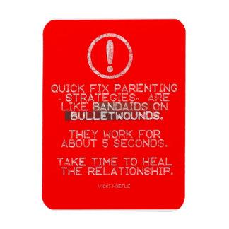 Quick Fix Parenting = Bandaid on Bulletwound Rectangular Photo Magnet