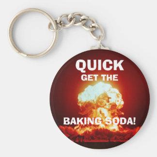 Quick, get the BAKING SODA! Basic Round Button Keychain