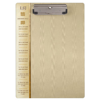 Quick Ref - Monogrammed - Gold Moire Clipboard