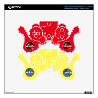 QuicKz - Controller Skin Pack Red & Yellow Skin For PS3 Controller