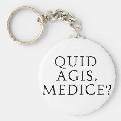 Quid Agis, Medice? Basic Round Button Keychain