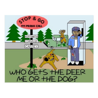 ¿Quién consigue a ciervos… me o el perro? Tarjeta Postal