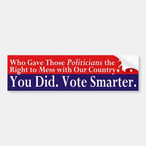 ¿Quién dio a políticos la derecha? Pegatina para e Pegatina De Parachoque
