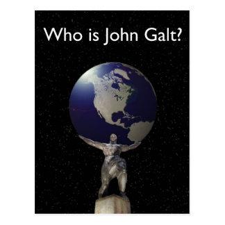 ¿Quién es Juan Galt? - Atlas con el globo Tarjeta Postal
