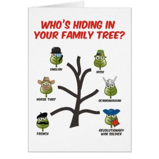 Quién está ocultando en su árbol de familia tarjeta de felicitación