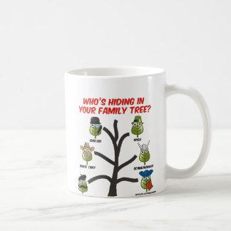 Quién está ocultando en su árbol de familia taza de café