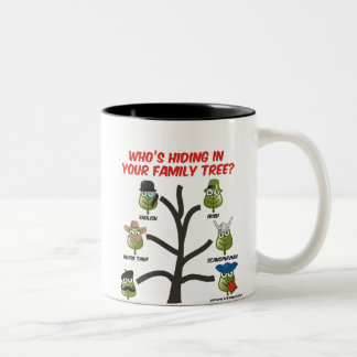 Quién está ocultando en su árbol de familia taza de dos tonos