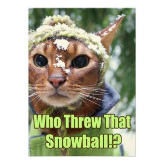 ¿Quién lanzó esa bola de nieve!? Tarjetas planas - Comunicados Personales