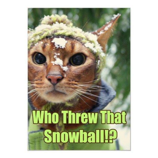 """¿Quién lanzó esa bola de nieve!? Tarjetas planas - Invitación 4.5"""" X 6.25"""""""