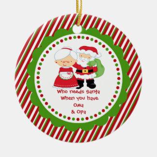 Quién necesita Santa. Navidad del abuelo de Oma y Adorno Redondo De Cerámica
