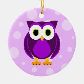 ¿Quién? Señora Purple Owl Adorno Navideño Redondo De Cerámica
