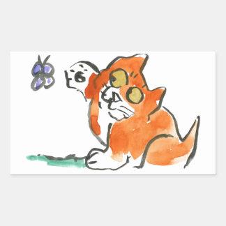 ¿Quién son usted? pregunta a gatito de la mariposa Pegatina Rectangular