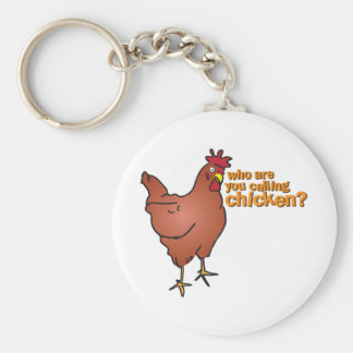 ¿Quién son usted que llama el pollo? ROJO Llavero Redondo Tipo Pin