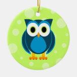 ¿Quién? Sr. Blue Owl Green Background Ornamentos De Reyes