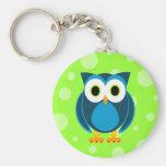 ¿Quién? Sr. Owl Cartoon Llavero Redondo Tipo Pin