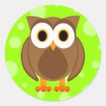 ¿Quién? Sr. Owl Cartoon Pegatina Redonda