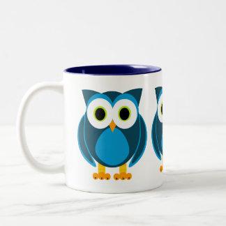 ¿Quién? Sr. Owl Cartoon Taza De Dos Tonos