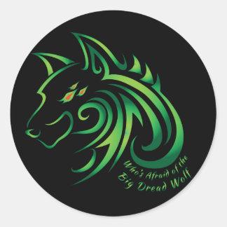 Quién tiene miedo del lobo grande del pavor pegatina redonda