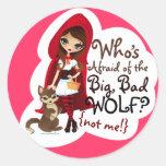¿Quién tiene miedo del mún lobo grande? Etiqueta Redonda