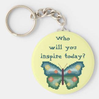 ¿Quién usted inspirará hoy? Llavero de la mariposa
